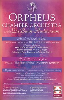 Orpheus Chamber Orchestra at DeBaun Auditorium poster and postcard design
