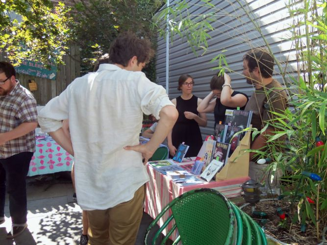 Outdoor garden with cartoonists at Pete's Mini Zine Fest 2015.