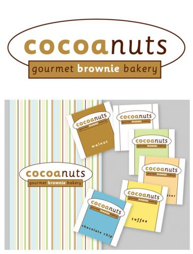 Cocoanuts gourmet brownie bakery branding, logo design, label design and product packaging design by Susan Newman